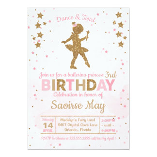 Princesa Faísca Aniversário Convite da bailarina