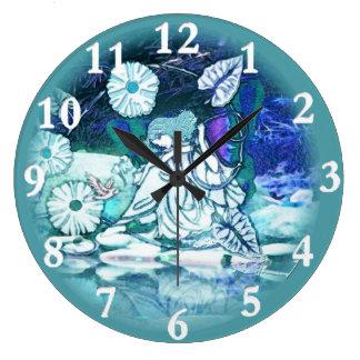 Princesa feericamente azul relógio para parede