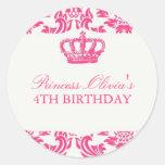 Princesa festa de aniversário adesivo redondo