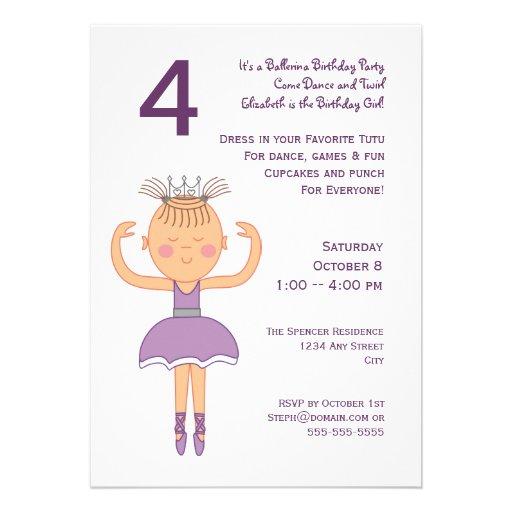 Princesa festa de aniversário da bailarina convite personalizado
