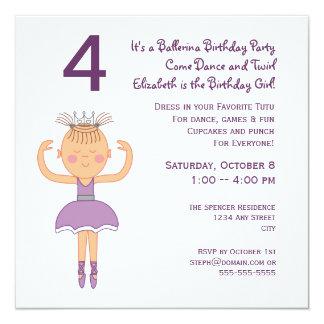 Princesa festa de aniversário da bailarina convite quadrado 13.35 x 13.35cm
