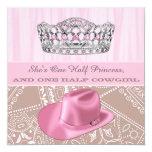 Princesa festa de aniversário da vaqueira convite personalizados