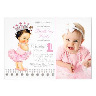 Princesa festa de aniversário das meninas convite 12.7 x 17.78cm