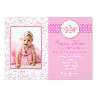 Princesa Foto Aniversário Convite Convite 12.7 X 17.78cm