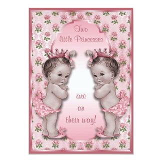 Princesa Gêmeo e chá de fraldas cor-de-rosa do