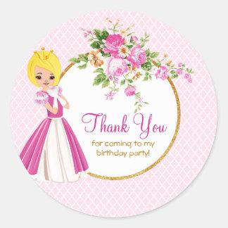 Princesa loura bonito Aniversário Agradecimento Adesivo Redondo