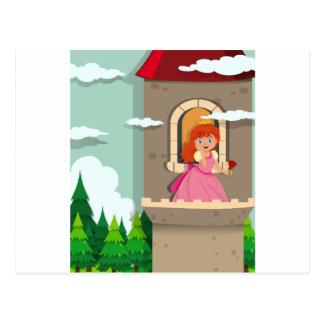 Princesa na torre cartão postal