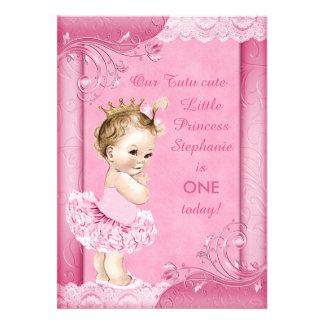 Princesa no laço do falso do primeiro aniversario convite