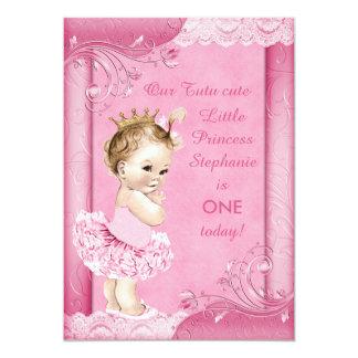 Princesa no laço do falso do primeiro aniversario convite 12.7 x 17.78cm