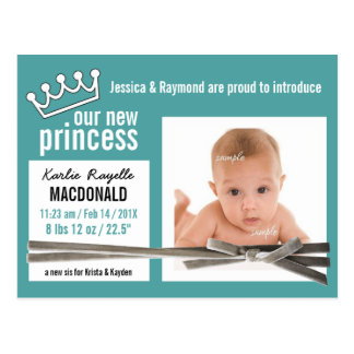 Princesa nova Cerceta Recém-nascido Menina Cartão Postal