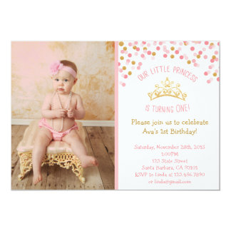 Princesa pequena Aniversário Convite Cor-de-rosa e