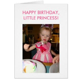 Princesa pequena, aniversário, FELIZ ANIVERSARIO, Cartão Comemorativo