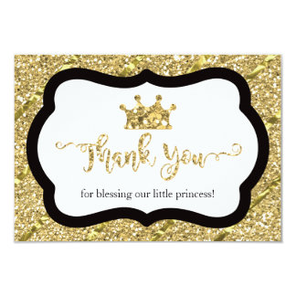 Princesa pequena cartões de agradecimentos, brilho convite 8.89 x 12.7cm
