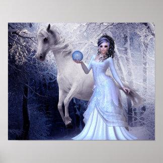 Princesa Poster Branco Garanhão Floresta da arte