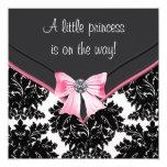 Princesa preta chá de fraldas do arco do rosa do convites personalizados