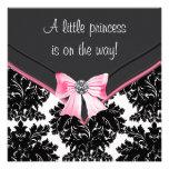 Princesa preta chá de fraldas do arco do rosa do d convites personalizados