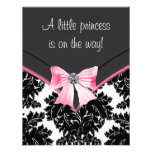Princesa preta chá de fraldas do rosa do damasco convite personalizado