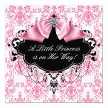 Princesa preta cor-de-rosa chá de fraldas do convites