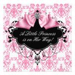 Princesa preta cor-de-rosa chá de fraldas do damas convites