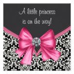 Princesa preta cor-de-rosa elegante chá de fraldas convite personalizado