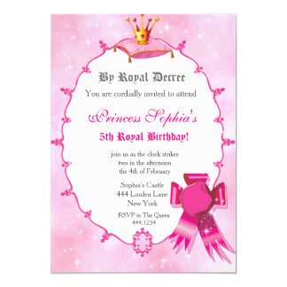 Princesa real convite de aniversário convite 12.7 x 17.78cm