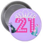 Princesa roxa Botão do aniversário de 21 anos Boton