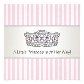 Princesa Tiara Cor-de-rosa princesa chá de fraldas Convite Quadrado 13.35 X 13.35cm