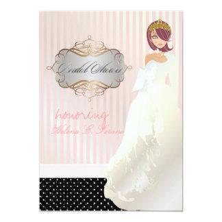 Princesa + tiara/listras/bolinhas/chá de panela convite 12.7 x 17.78cm