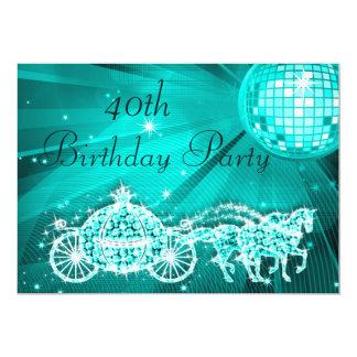 Princesa Treinamento & cavalos & aniversário de 40 Convite 12.7 X 17.78cm