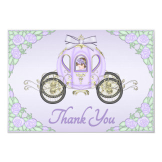 Princesa Treinamento do bebé e obrigado do Lilac Convite 8.89 X 12.7cm