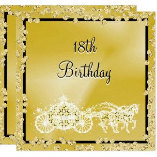 Princesa Treinamento do ouro & aniversário dos Convite Quadrado 13.35 X 13.35cm