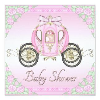 Princesa Treinamento e chá de fraldas do rosa de Convite Quadrado 13.35 X 13.35cm