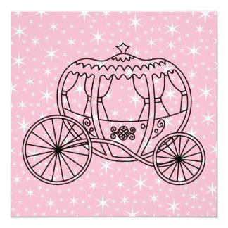 Princesa Treinamento Projeto no preto e no rosa Convite Quadrado 13.35 X 13.35cm