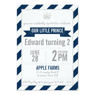 Príncipe Aniversário Convite do brilho da prata