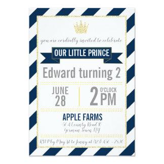 Príncipe Aniversário Convite do brilho do ouro dos