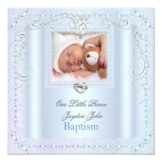Príncipe azul da cruz do baptismo do batismo do convite quadrado 13.35 x 13.35cm