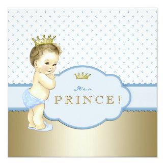Príncipe azul doce chá de fraldas convite quadrado 13.35 x 13.35cm