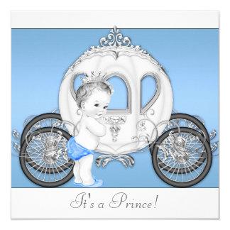 Príncipe azul e branco chá de fraldas convite quadrado 13.35 x 13.35cm