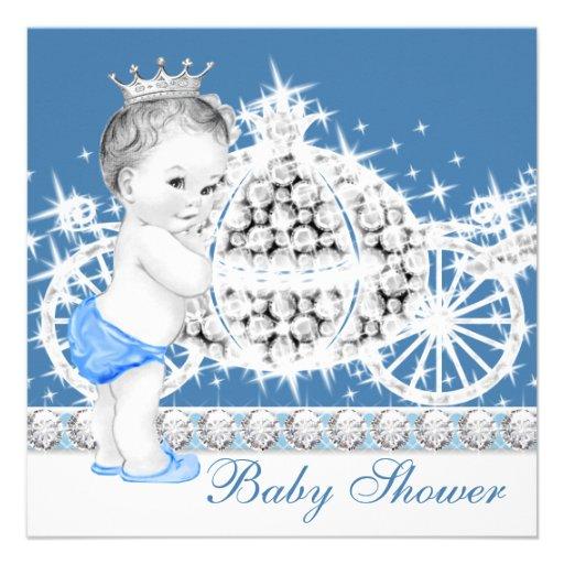 Príncipe azul e cinzento elegante chá de fraldas convite personalizado
