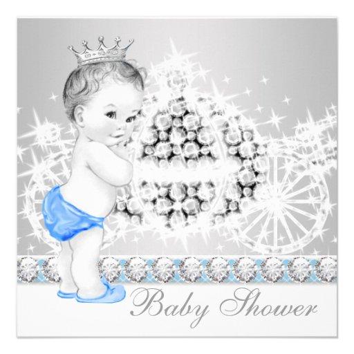 Príncipe azul e cinzento elegante chá de fraldas convites personalizado