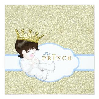 Príncipe chá de fraldas convite quadrado 13.35 x 13.35cm