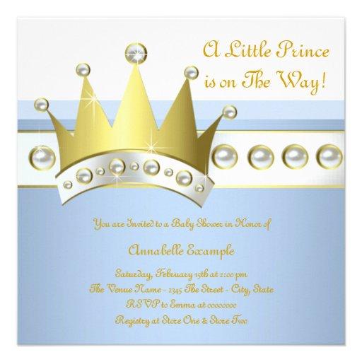Príncipe chá de fraldas dos azuis bebés e do ouro convites personalizado