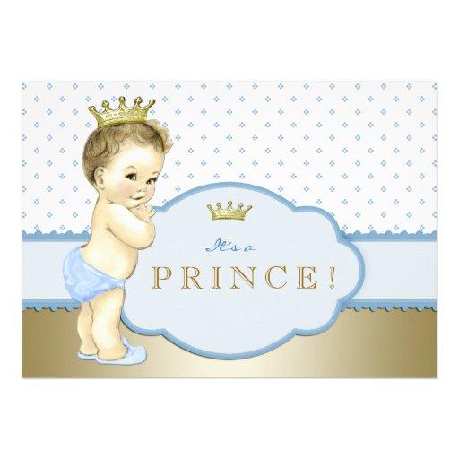 Príncipe chá de fraldas dos azuis bebés e do ouro convite personalizado