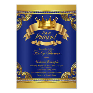 Príncipe chá de fraldas dos azuis marinhos da convite 12.7 x 17.78cm