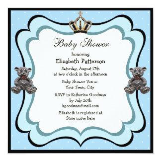 Príncipe Coroa & chá de fraldas do menino das Convite Quadrado 13.35 X 13.35cm