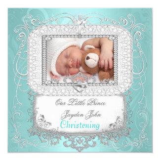 Príncipe da cruz do baptismo do batismo do bebé convite quadrado 13.35 x 13.35cm