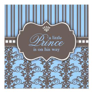 Príncipe Damasco & chá de fraldas preto & azul da Convite Quadrado 13.35 X 13.35cm