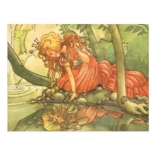 Príncipe do sapo do vintage; Princesa e sua reflex Cartão Postal