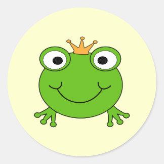 Príncipe do sapo Sapo de sorriso com uma coroa Adesivo Em Formato Redondo