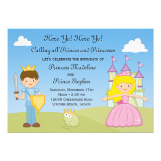 Príncipe e princesa convite de aniversário